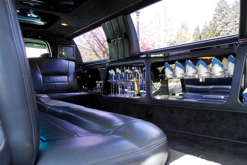 Beautiful interior shot of limousine for hire from Manchester Wedding Cars.